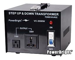 Power Bright VC3000W Voltage Transformer 3000 Watt Step Up/Down converter  110/120 Volt - 220/240 Volt