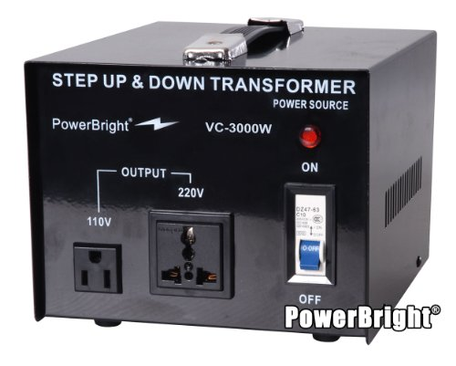 Power Bright VC3000W Voltage Transformer 3000 Watt Step Up/Down converter  110/120 Volt - 220/240 Volt