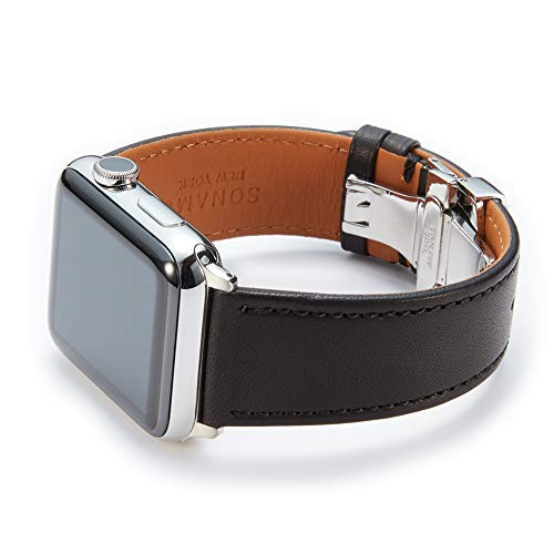 SONAMU New York Compatible with Apple Watch Band 42mm, Premium French Barenia Leather Strap with Stainless Steel Buckle, Black