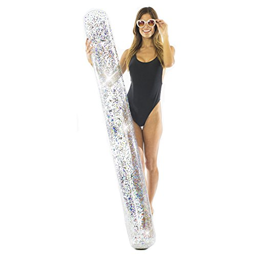Poolcandy Silver Glitter Super Inflatable Pool Noodle - Supersized 72' x 25' x 8' - Fun Cool Pool Float for a Pool or Lake Party