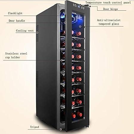 hanzeni Vinoteca, Mini Refrigerador para Vinos Compacto Independiente con 24 Botellas-enfriamiento Electrónico-60W-Negro