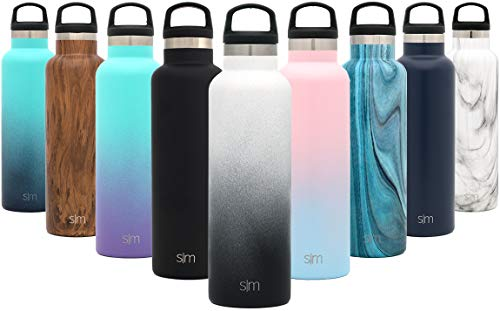 (Simple Modern 24oz Ascent Water Bottle - Hydro Vacuum Insulated Flask w/Handle Lid - Double Wall Stainless Steel Reusable - Leakproof Ombre: Tuxedo)