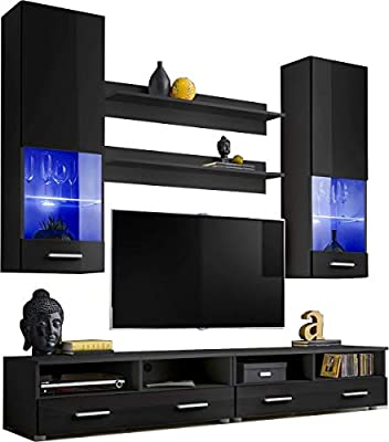Living Room High Gloss Furniture Set Display Wall Unit Modern TV Unit  Cabinet (Hana 4 / BBB)