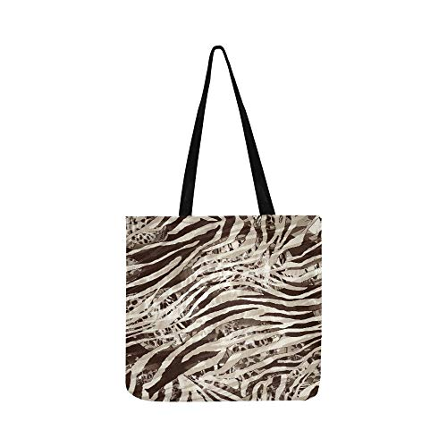 - Texture Of Striped Leopard And Zebra Canvas Tote Handbag Shoulder Bag Crossbody Bags Purses For Men And Women Shopping Tote