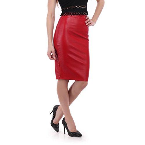 La Modeuse - Falda lápiz de Piel sintética Rojo Small: Amazon.es ...