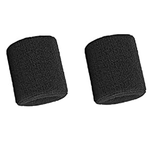 Mcolics 3' Inch Wrist Sweatband in 11 Different Colors - Athletic Cotton Armbands (1 Pair) (Black)