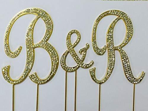 GOLD Rhinestone Covered Monogram Initial Letter Wedding Large Cake Topper Set