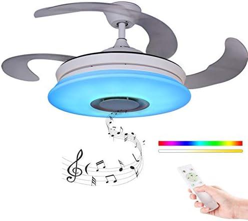 Ventilador Grande Moderno Ventilador de techo con luz con Mando a distancia con altavoz Bluetooth