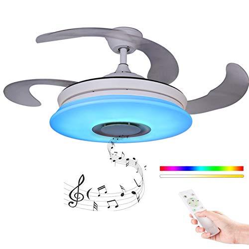 Moderno Ventilador de techo con luz con Mando a distancia con altavoz Bluetooth, HOREVO 36W Lámpara de techo teléfono aplicación, LED RGB Cambio de ...