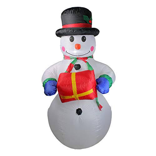 (Northlight 5' Inflatable Lighted Snowman with Gift Christmas Yard Art Decoration)