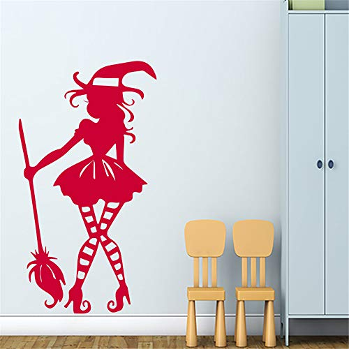 Wall Art Decal Sticker Words Wall Saying Words Removable Mural Witch Cartoon Halloween for Nursery Kids Room Teen Room Living Room Bedroom ()