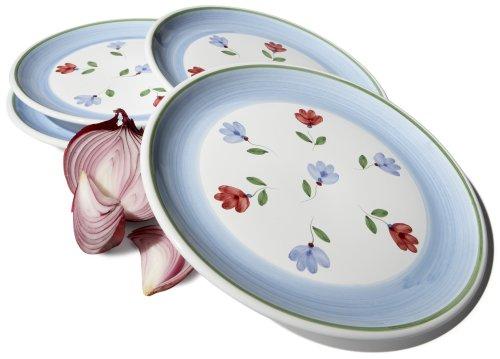 Caleca Petali 4-Piece Dinner Plate Set, Service for 4 Bordeaux Accent Plate