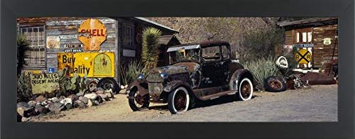 (Easy Art Prints Panoramic Images's 'Abandoned Vintage car at The Roadside, Route 66, Arizona, USA' Premium Framed Canvas Art - 30