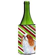 English Toy Spaniel Candy Cane Holiday Christmas Wine Bottle Beverage Insulator Beverage Insulator Hugger