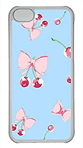 Bow And Cherries Cute Hard Case Cover for iPhone 5C PC Ttransparent