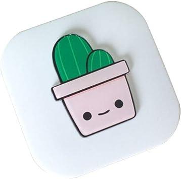 JUNGEN Estuche de lentillas con Patrón de cactus de dibujos animados Caja de lentes de contacto cuadrada Estuche de lentillas con espejo Kit de cuidado de lentes de contacto (Blanco): Amazon.es: Salud
