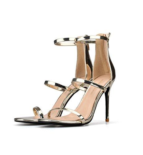 Cinturino Scarpe Donna da Parola Tacco 37 Fine Colore 8cm Tacco Sexy Open Toe in Romani Gold Sandali Dimensioni Alto RPRqwAYB