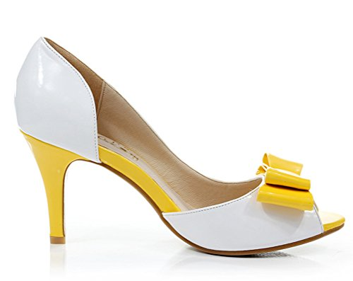 toe Contrast White Fashion Shoes Sexyher Inches High Heel 3 Shomq168 Womens 4 amp;yellow Peep Color 0aO8aqgx
