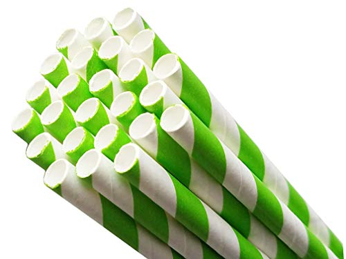 Biodegradable Environmentally Friendly Plant Based Paper Straws for Drinking, Parties, Birthdays and Decorations. 8 Different Rainbow Stripe Colors - 50 Pack (Green)