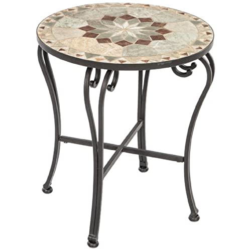 Alfresco Home Notre Dame Indoor Outdoor Marble Mosaic Side Table