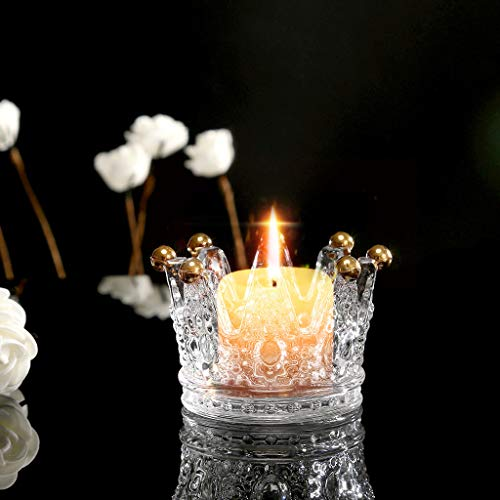 - JHFUH Crown Glass Candle Holders, Crystal Candlestick Ashtray Cigarette Crown Elegant Candlestick Tea Light Candle Stand Candle Holder