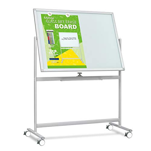 Mobile Glass Whiteboard- Magnetic Dry Erase Glass Board -48x36 Large Rolling Glass Board Planner with Stand on Wheels-Includes 6 Strong Magnetic Dots,12 Markers,1Eraser
