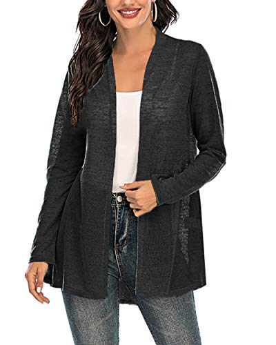 CIZITZZ Womens Casual Long Sleeve Open Front Cardigan Sweater Drape Lightweight Duster High Low Hem,Black,M