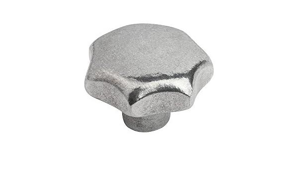 Metric Kipp 06192-58016 Aluminum Tapped Blind Hole Star Grip Tumbled Finish 80 mm Diameter KIPP Inc K0149.58016 Style E