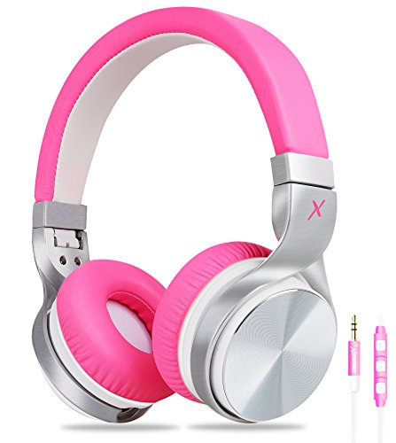 (Girls Headphones, Riwbox IN5 Foldable Headphones with Microphone and Volume Control Stereo Folding Headset Strong Low Bass for iPhone ipad Smartphones Laptop Mp3/4 (Pink White))