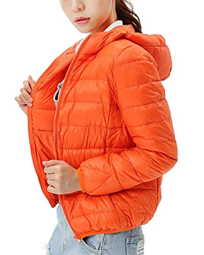 Encapuchado Cremallera Fit Fashion Termica con Chaqueta Pluma Slim Elegantes Acolchada Mujer Unicolor Larga Grande Coat Naranja Invierno Chaqueta Manga Ligeros Talla Plumas 5aW76q0Sa