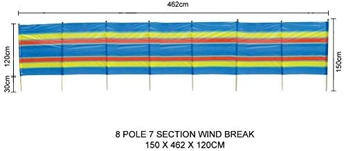 Garden Mile 8 Stange schwer arbeiten bunt Garten Windjacke Strand Sonnenschirm Ferien Caravan & Camping Schutz Windschutz Hocher Windjacke Privacy Bildschirme (8 Pole Wind Break 462cm x 120cm)
