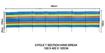 8 Pole Wind Break 462cm x 120cm Garden Mile 8 Stange schwer arbeiten bunt Garten Windjacke Strand Sonnenschirm Ferien Caravan /& Camping Schutz Windschutz Hocher Windjacke Privacy Bildschirme