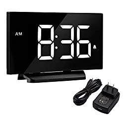 TOPELEK Digital Alarm Clock, 5'' LED Display Clock with Curved-Screen and Dimmer, 3 Adjustable Alarm Sounds, Snooze Function, 12/24H, Bedside Alarm Clock for Kid, Women, Men, White
