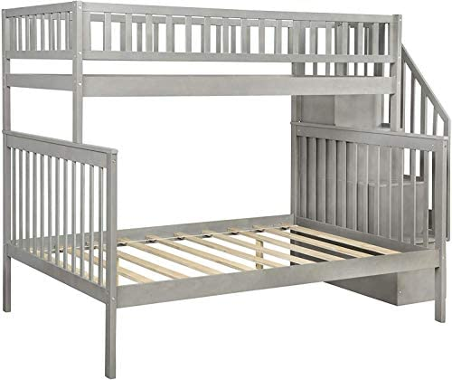 Children Bunk Bed,Twin-Over Full Stairway Grey Bunk Bed with Storage and Trundle Bed, No Box Spring Required