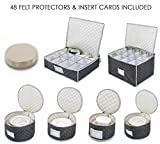 "Woffit Luxurious Quilted ""Complete Dinnerware Storage Set"" #1 Best Protection for Storing or Transporting Fine China Dishes, Coffee Tea Cups, Wine Glasses – Includes 48 Felt Protectors for Plates"