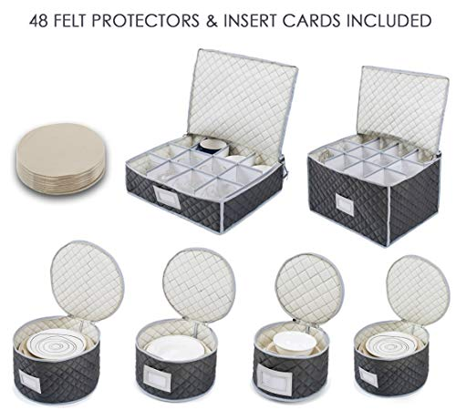 """Woffit Luxurious Quilted """"Complete Dinnerware Storage Set"""" #1 Best Protection for Storing or Transporting Fine China Dishes, Coffee Tea Cups, Wine Glasses – Includes 48 Felt Protectors for Plates"""