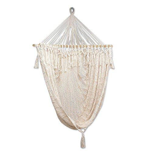 NOVICA Sustainable Beige Cotton Swing Hammock 'Sandy Beach' by NOVICA