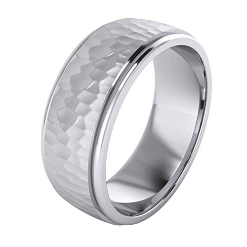 - Heavy Solid Sterling Silver 8mm Hammered Unisex Wedding Band Comfort Fit Ring Raised Center Polished Sides (11)