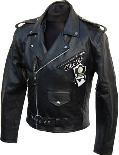 buy popular 61878 5950f WinNet Giacca chiodo vintage da moto custom in pelle, Taglia: XL
