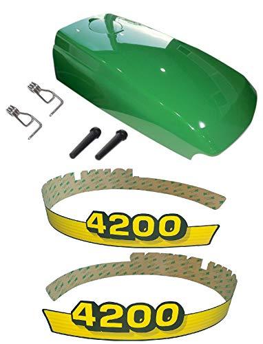 Kumar Bros USA New Upper Hood & Fuel Door with Fuel Door Mounting Hardware and LH/RH Decal Set Fits John Deere 4200