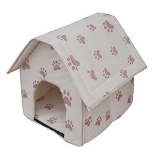Hmane - Cama para mascota, cama de algodón perla plegable para interior, para perro, gato, beige con pequeñas huellas de...