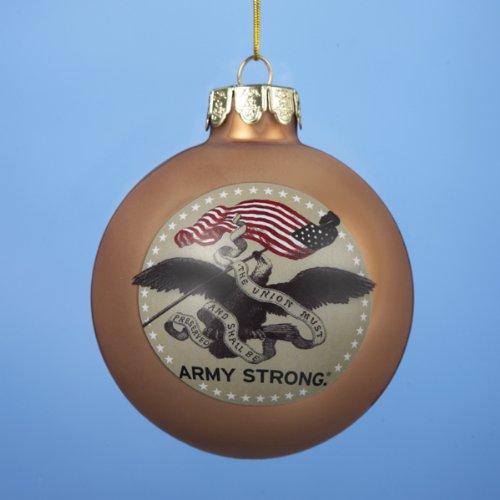 Kurt Adler 80-MM U.S. Army Gold Glass Ball Ornament