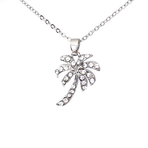 (Palm Tree Rhinestone Silver Tone Small dainty Necklace)