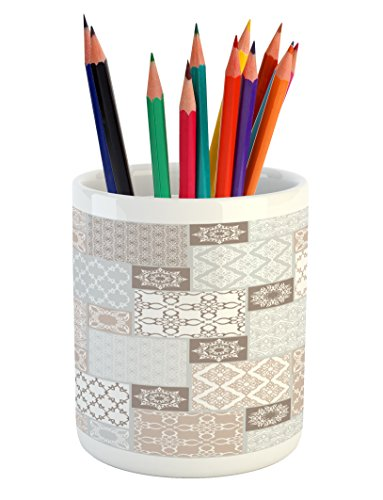 Ambesonne Arabian Pencil Pen Holder, Oriental Motif Pastel Patchwork Pattern with Filigree Ornaments Illustration, Printed Ceramic Pencil Pen Holder for Desk Office Accessory, White Beige Grey by Ambesonne