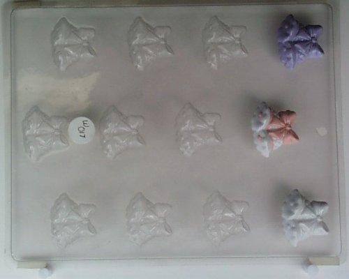 (Small wedding bells w/ bow on top W017 Wedding chocolate candy mold)