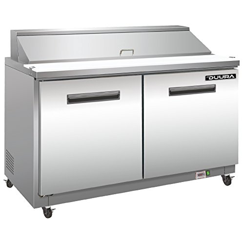 DUURA DVS27 Stainless Steel 27-inch Commercial Sandwich Station with 8 4-inch Deep Pans, 7 cubic feet, Silver