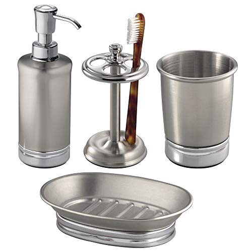 mDesign Metal Bathroom Vanity Countertop Accessory Set - Includes Refillable Soap Dispenser, Divided Toothbrush Stand, Tumbler Rinsing Cup, Soap Dish - 4 Pieces - Brushed Stainless Steel