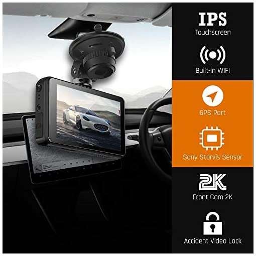 Dash Cam Front and Rear 1440P & 1080P 【Built with GPS & WIFI】Dual dash Cam (Single Front 1440P), Car Camera 3 Inch Touch… Car and Vehicle Electronics [tag]