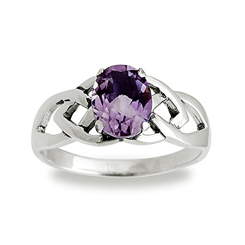 Chuvora 925 Sterling Silver 9 mm Genuine Oval Purple Amethyst Stone Celtic Band Ring - Size 6