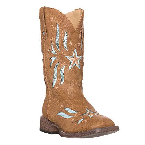 Children Western Kids Cowboy Boot | Star Glitter Toddler Tan Square Toe for Girls by Silver Canyon]()